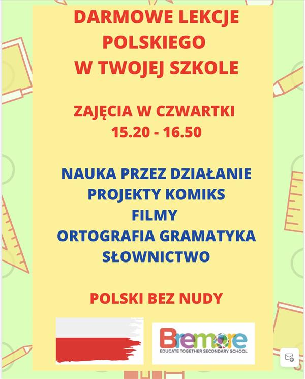 Polish and Lithuanian- free heritage language classes.