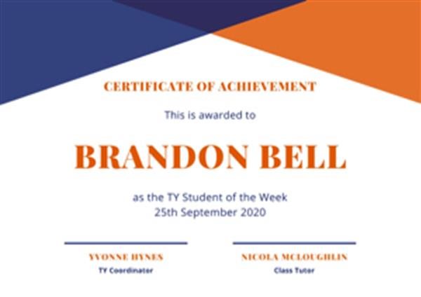 TY Student of the Week 25/09/2020