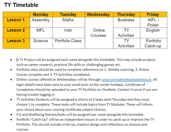 TY Timetable and Instructions